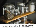 glass transparent jar with...   Shutterstock . vector #1128974375