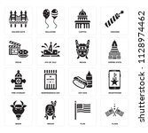 set of 16 icons such as flags ... | Shutterstock .eps vector #1128974462