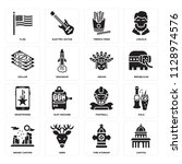 set of 16 icons such as capitol ... | Shutterstock .eps vector #1128974576