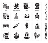 set of 16 icons such as corndog ...
