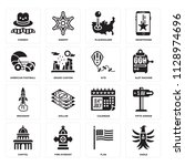 set of 16 icons such as eagle ... | Shutterstock .eps vector #1128974696