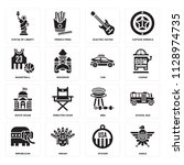 set of 16 icons such as eagle ...