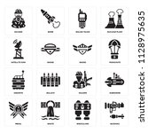 set of 16 icons such as bazooka ... | Shutterstock .eps vector #1128975635