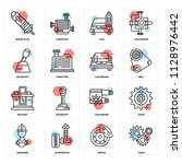 set of 16 icons such as gear ...   Shutterstock .eps vector #1128976442