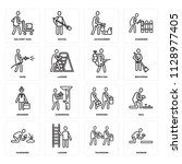set of 16 icons such as worker  ... | Shutterstock .eps vector #1128977405