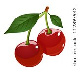 vector illustration of cherry. | Shutterstock .eps vector #112897942