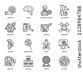set of 16 icons such as... | Shutterstock .eps vector #1128984788