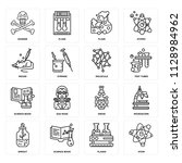 set of 16 icons such as atom ... | Shutterstock .eps vector #1128984962