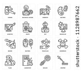 set of 16 icons such as dropper ... | Shutterstock .eps vector #1128987662
