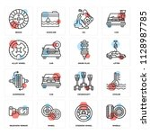 set of 16 icons such as wheels  ...   Shutterstock .eps vector #1128987785