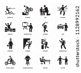 set of 16 icons such as playing ...