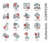 set of 16 icons such as piston  ... | Shutterstock .eps vector #1128992198