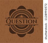 question wooden emblem | Shutterstock .eps vector #1128993572