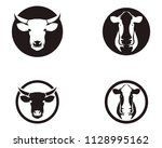 cow head black and white | Shutterstock .eps vector #1128995162