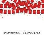 china flag garland white... | Shutterstock .eps vector #1129001765