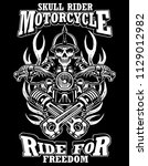 black and white skull rider... | Shutterstock .eps vector #1129012982