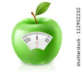 green apple with scale for a... | Shutterstock .eps vector #112902232