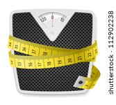 weights and tape measure.... | Shutterstock .eps vector #112902238
