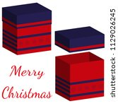 set of realistic boxes with lid ... | Shutterstock .eps vector #1129026245