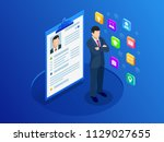 isometric woman and cv resume... | Shutterstock .eps vector #1129027655
