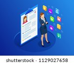 isometric woman and cv resume... | Shutterstock .eps vector #1129027658
