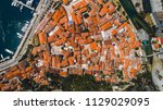 aerial top view of old town... | Shutterstock . vector #1129029095