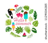 hello summer. tropical welcome... | Shutterstock .eps vector #1129034285