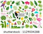 cartoon set of flat summer... | Shutterstock .eps vector #1129034288
