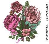 bouquet of flowers. hand drawn...   Shutterstock .eps vector #1129053305