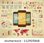 retro vector set of infographic ... | Shutterstock .eps vector #112905868
