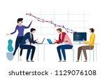 burn down chart  scheme of... | Shutterstock .eps vector #1129076108