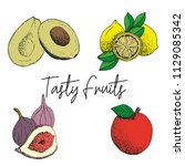 fruit illustrated vectors | Shutterstock .eps vector #1129085342