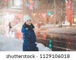 beautiful asian girl girl in a... | Shutterstock . vector #1129106018