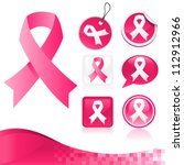 vector set of pink ribbons for... | Shutterstock .eps vector #112912966