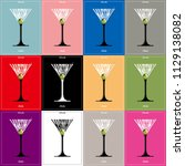 cocktail  glass silhouette... | Shutterstock .eps vector #1129138082
