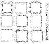 set of vector vintage frames on ... | Shutterstock .eps vector #1129138112