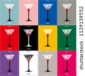 cocktail  glass silhouette... | Shutterstock .eps vector #1129139552