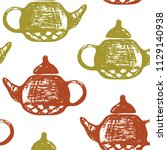 seamless pattern with hand... | Shutterstock .eps vector #1129140938