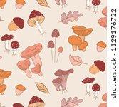vector mushrooms pattern.... | Shutterstock .eps vector #1129176722