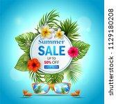 summer sale banner with... | Shutterstock . vector #1129180208