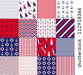 seamless pattern with nautical... | Shutterstock .eps vector #112918366