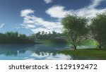 3d render of a landscape with... | Shutterstock . vector #1129192472