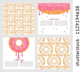 set of backgrounds with donuts  ... | Shutterstock .eps vector #1129194638
