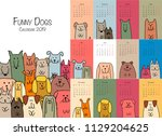 funny dogs  calendar 2019 design | Shutterstock .eps vector #1129204625
