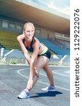 young fitness sporty runner...   Shutterstock . vector #1129222076