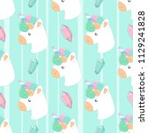 cute hand drawn pattern with... | Shutterstock .eps vector #1129241828
