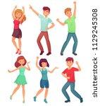 cartoon dancing people. happy... | Shutterstock .eps vector #1129245308