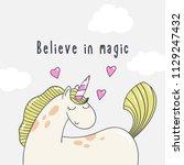 pretty cartoon pony unicorn... | Shutterstock .eps vector #1129247432
