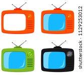 colorful cartoon retro tv set...   Shutterstock . vector #1129253012