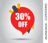 sale 30  off discount price tag ... | Shutterstock .eps vector #1129253492